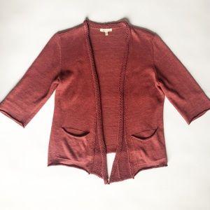 Eileen Fisher Open Front Crop Sleeve Cardigan